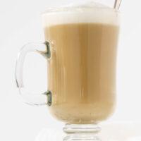 vanilla latte in glass mug