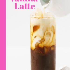 pinterest image for iced vanilla latte
