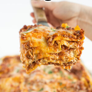 pinterest image for classic beef lasagna