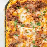 classic beef lasagna in casserole dish