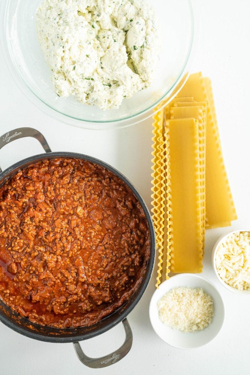displayed ingredients for making lasagna