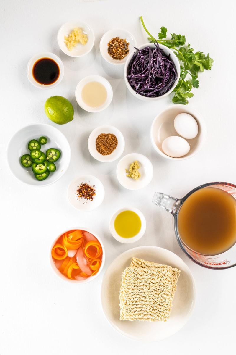 ingredients displayed for easy ramen bowl