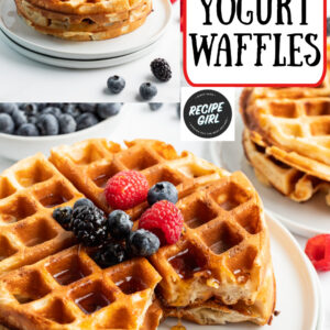 pinterest image for greek yogurt waffles
