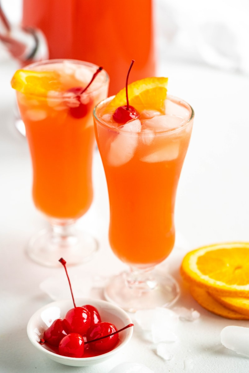 hurricane punch in two glasses