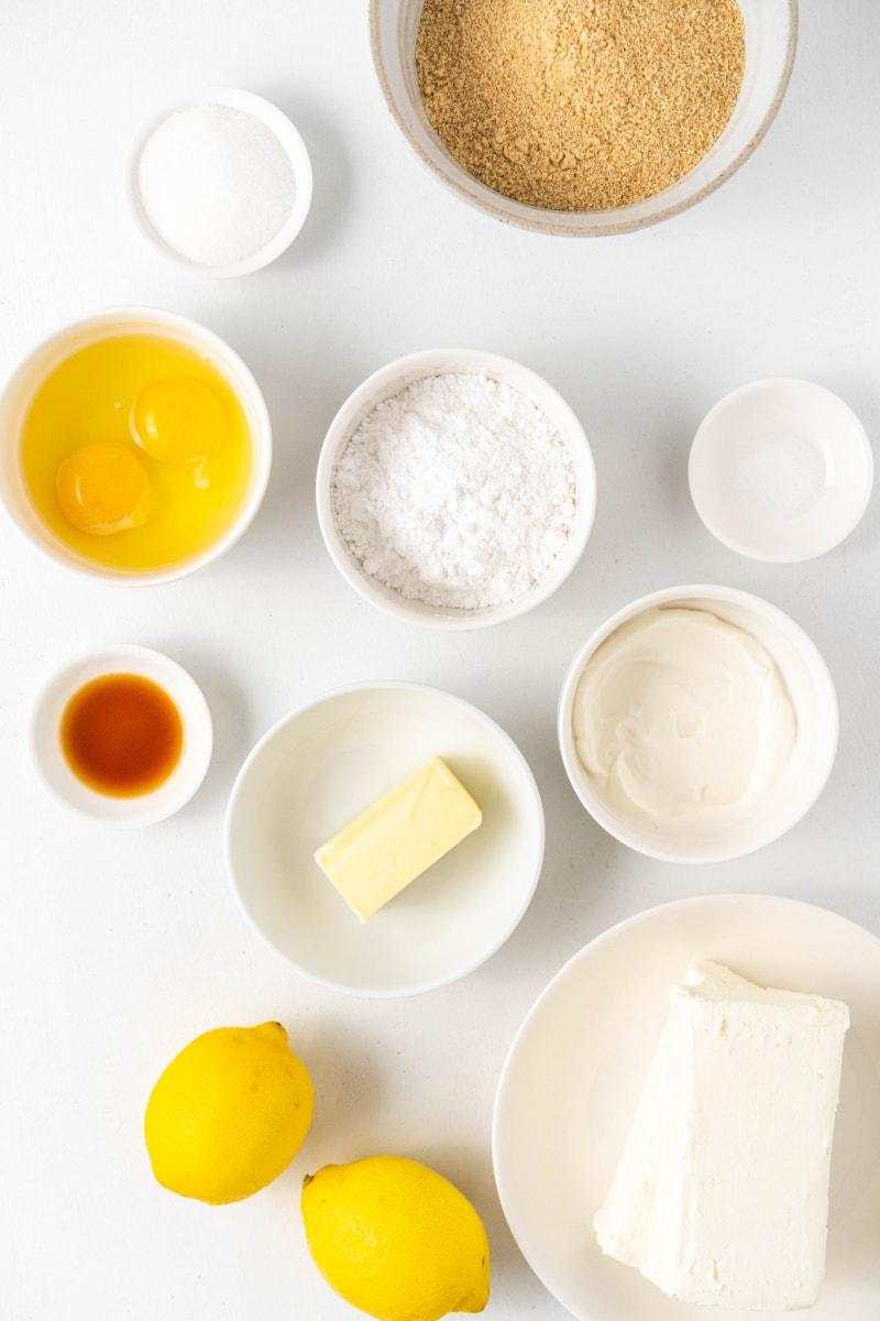 displayed ingredients for making lemon cheesecake bars