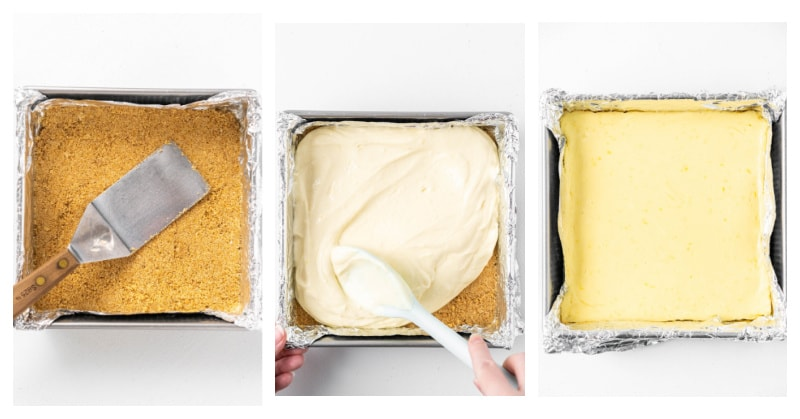 three photos of a square pan: graham cracker crust, cheesecake filling and baked cheesecake