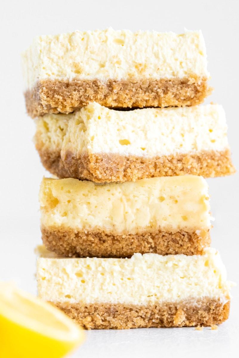 stack of lemon cheesecake bars