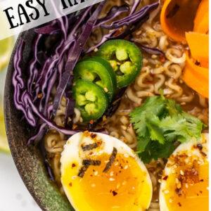 pinterest image for easy ramen bowl