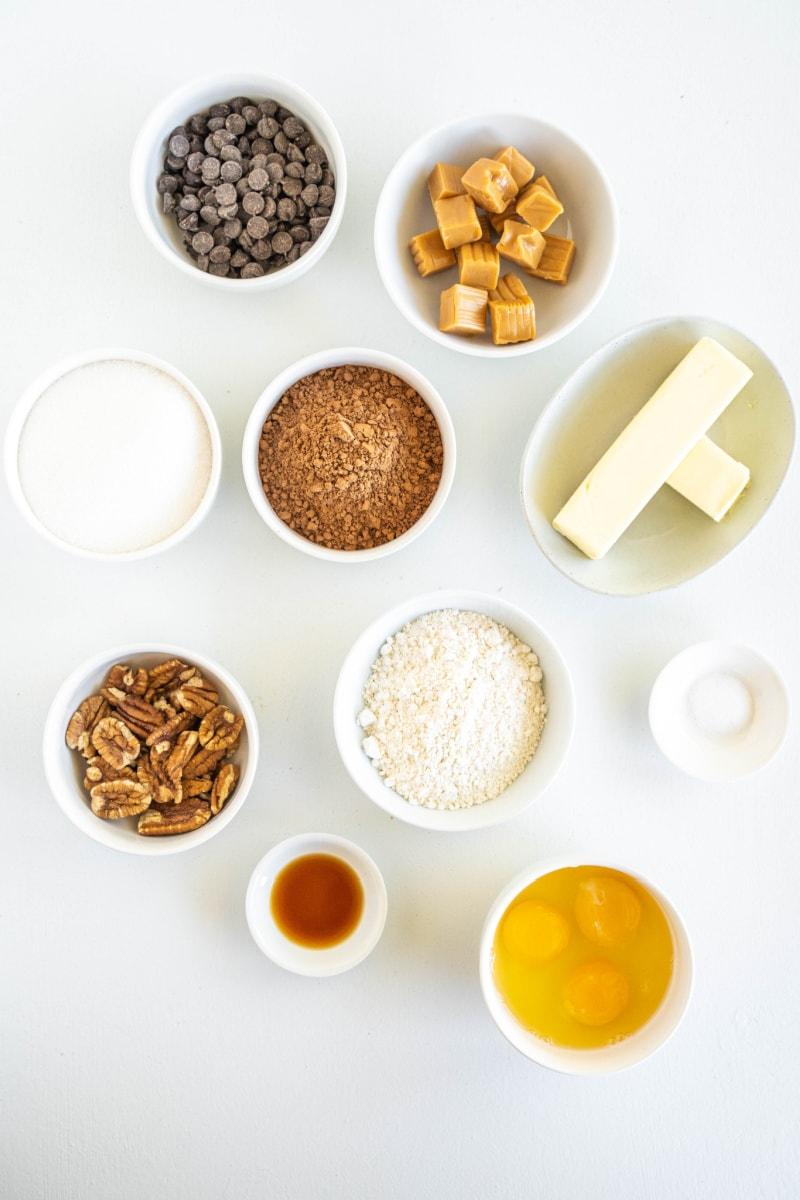 ingredients displayed for turtle brownies