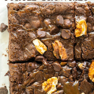 pinterest image for turtle brownies