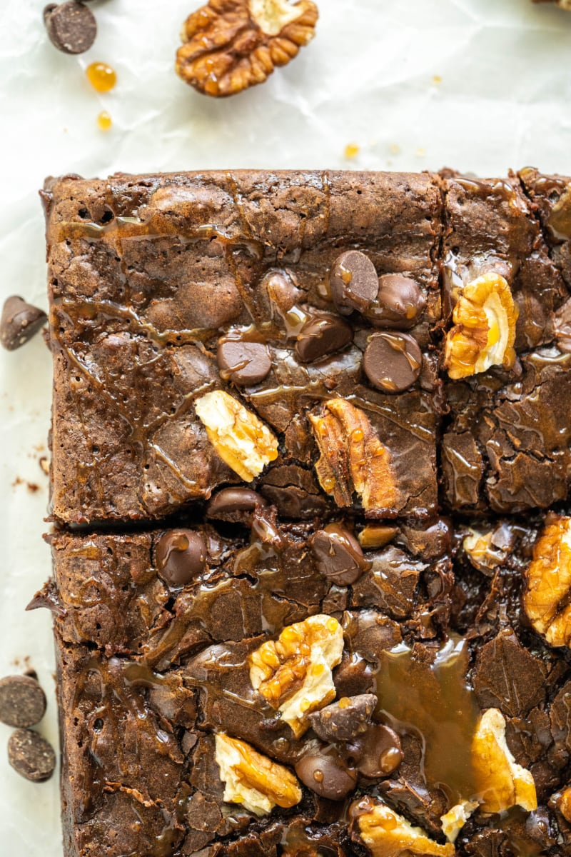 close up overhead shot of turtle brownies