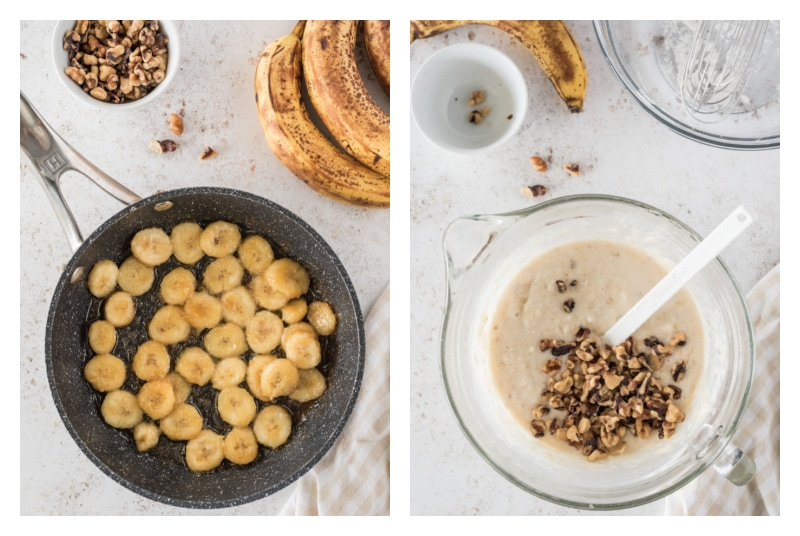 banana slices in pan and pancake batter