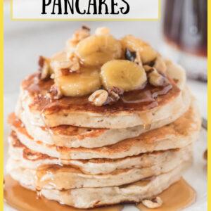 pinterest image for banana bread pancakes
