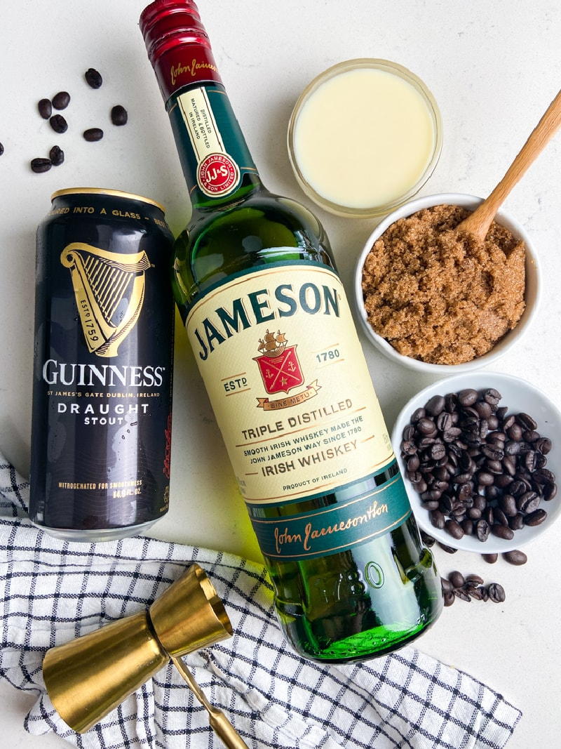 ingredients displayed for making boozy iced coffee