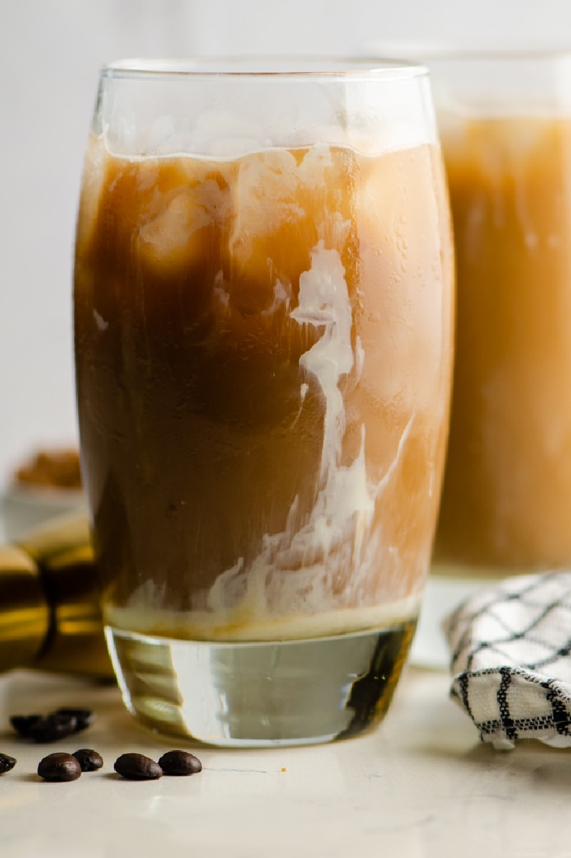 boozy iced coffee in two glasses