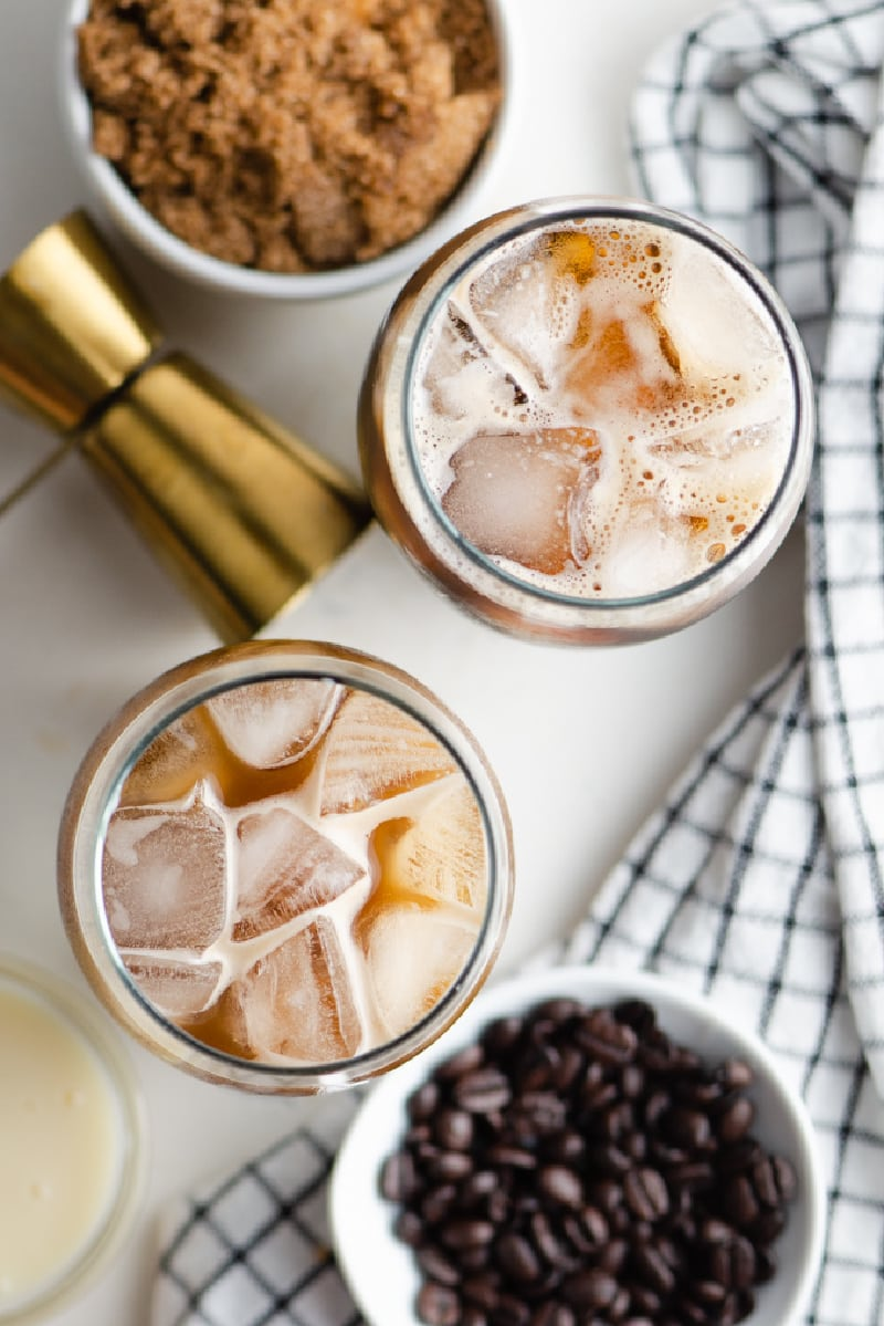 overhead shot of two iced coffees