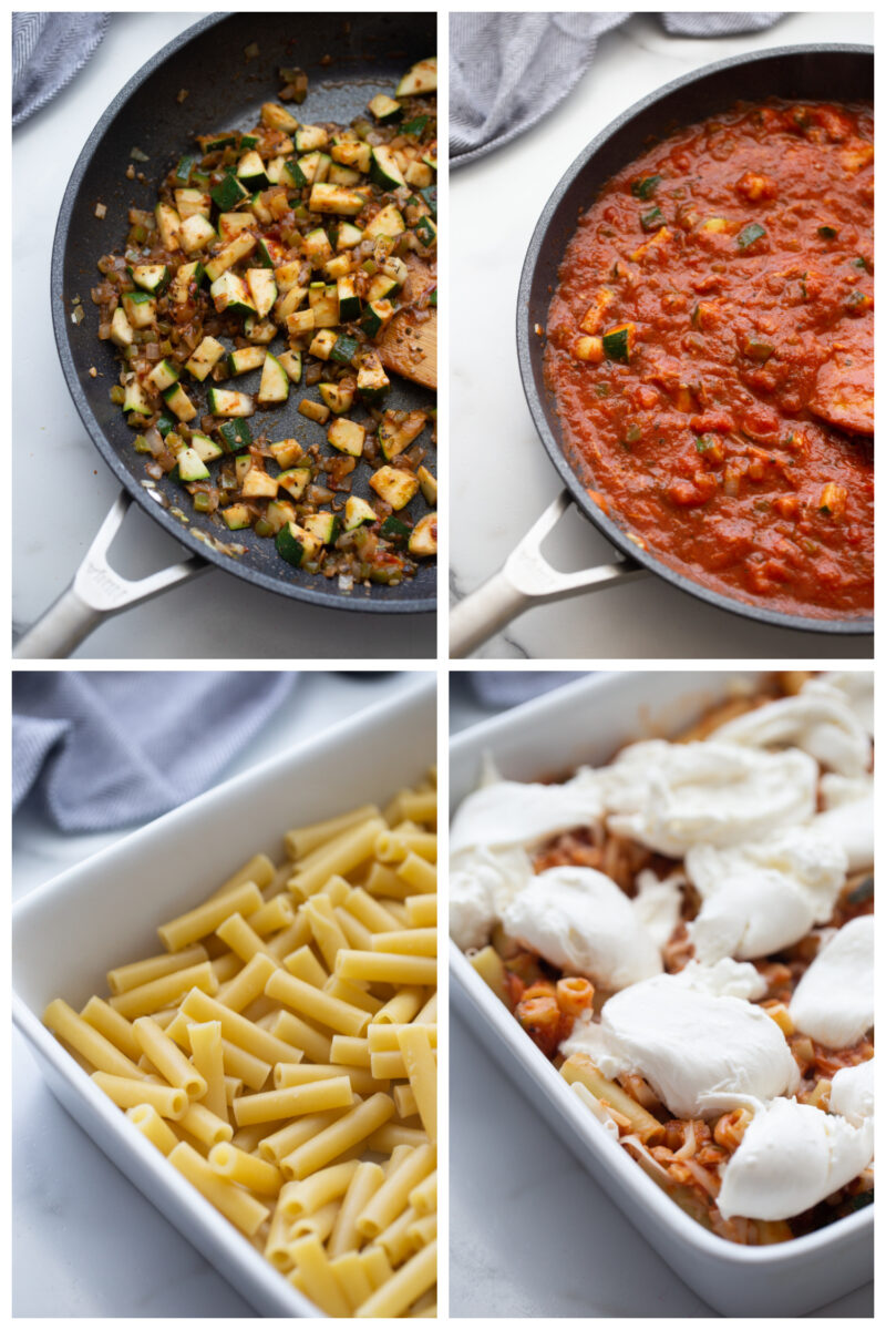 four photos showing the process of making ziti