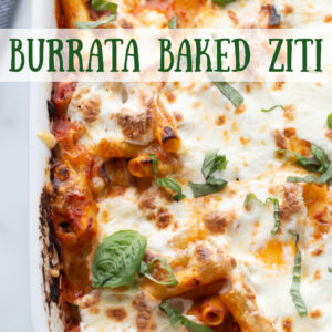 pinterest image for ziti baked burrata