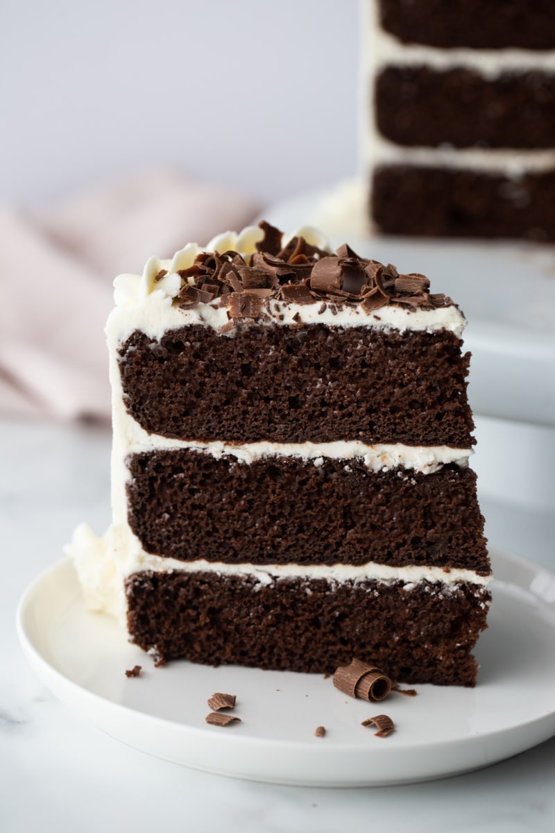 slice of three-layer chocolate cake with white frosting