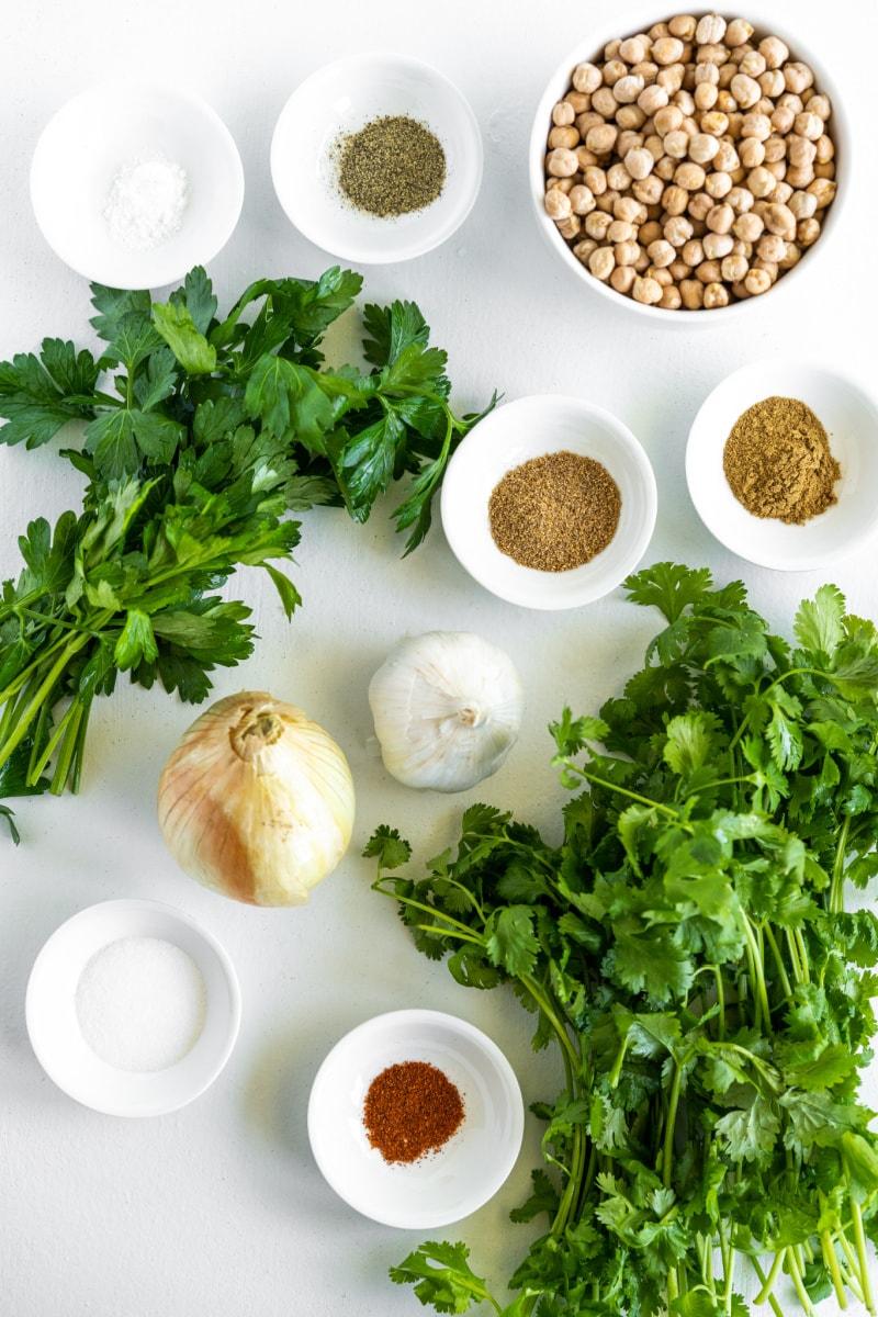 ingredients presented to make falafel