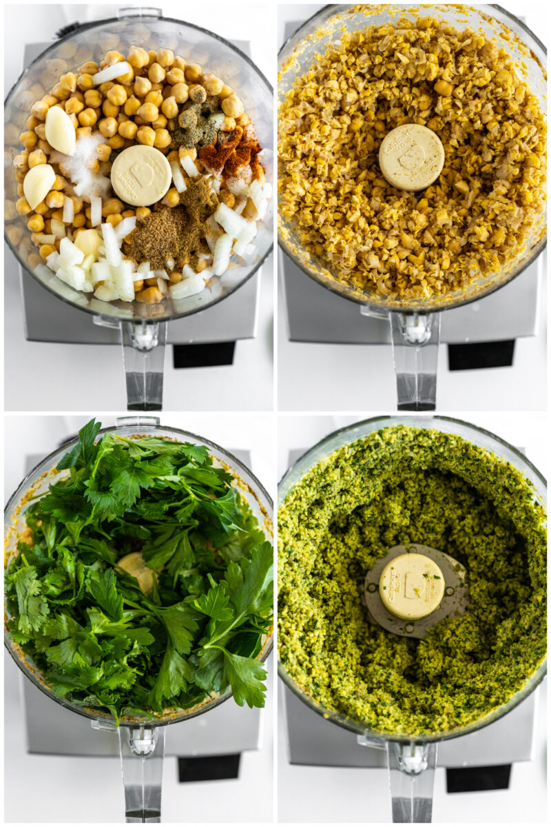 four photos showing how to make falafel in a food processor