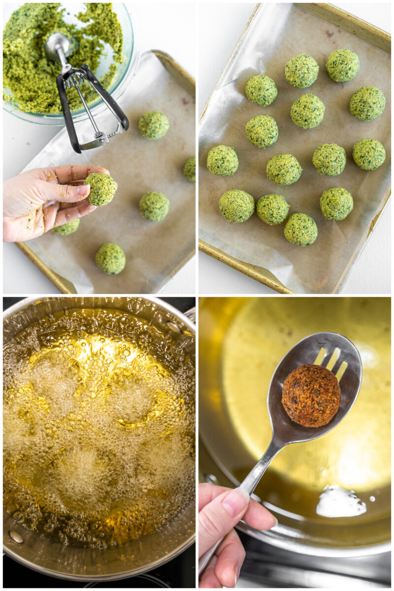 four photos showing how to make falafel, roll into balls and fry