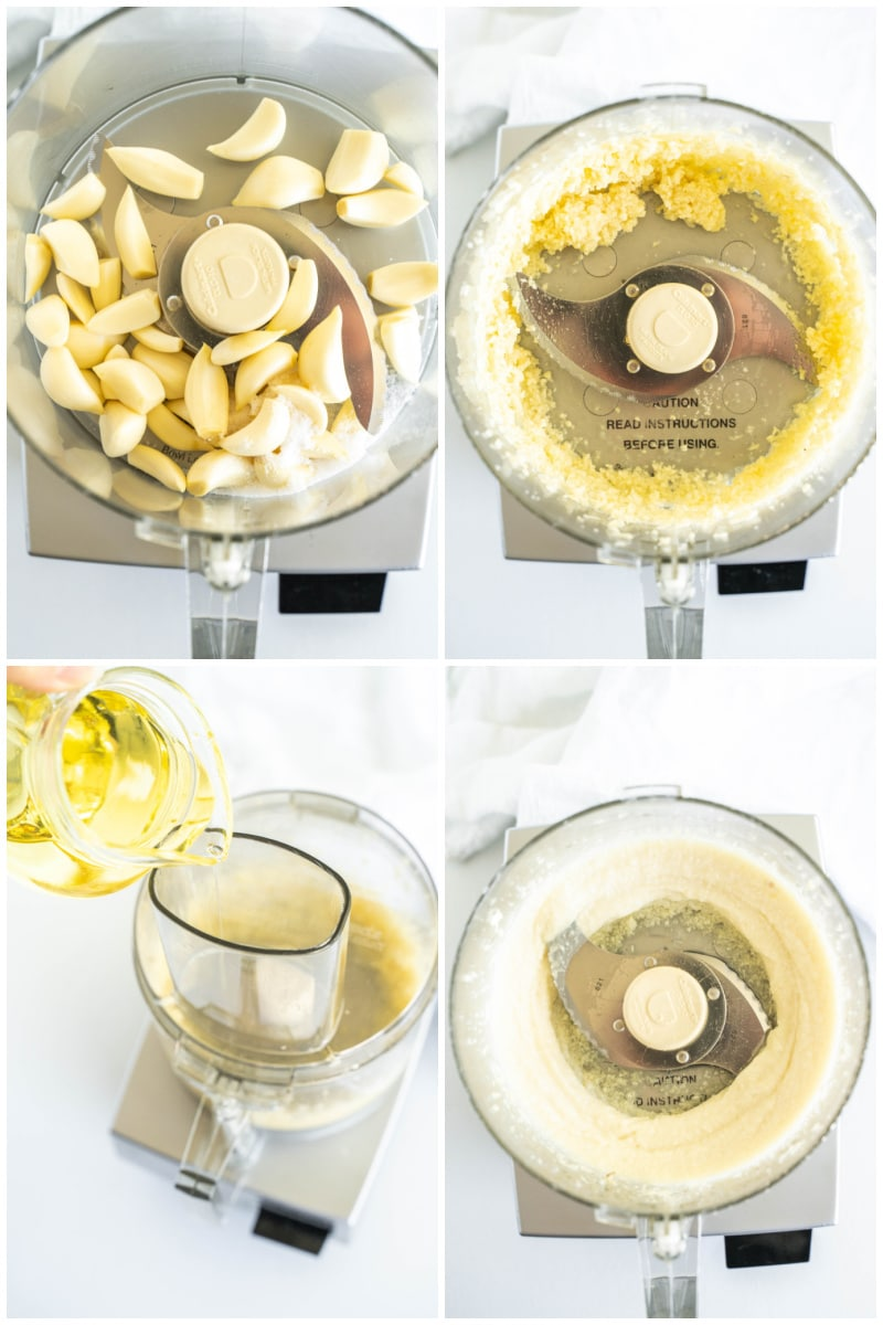 four process photos showing how to make lebanese garlic sauce in the food processor