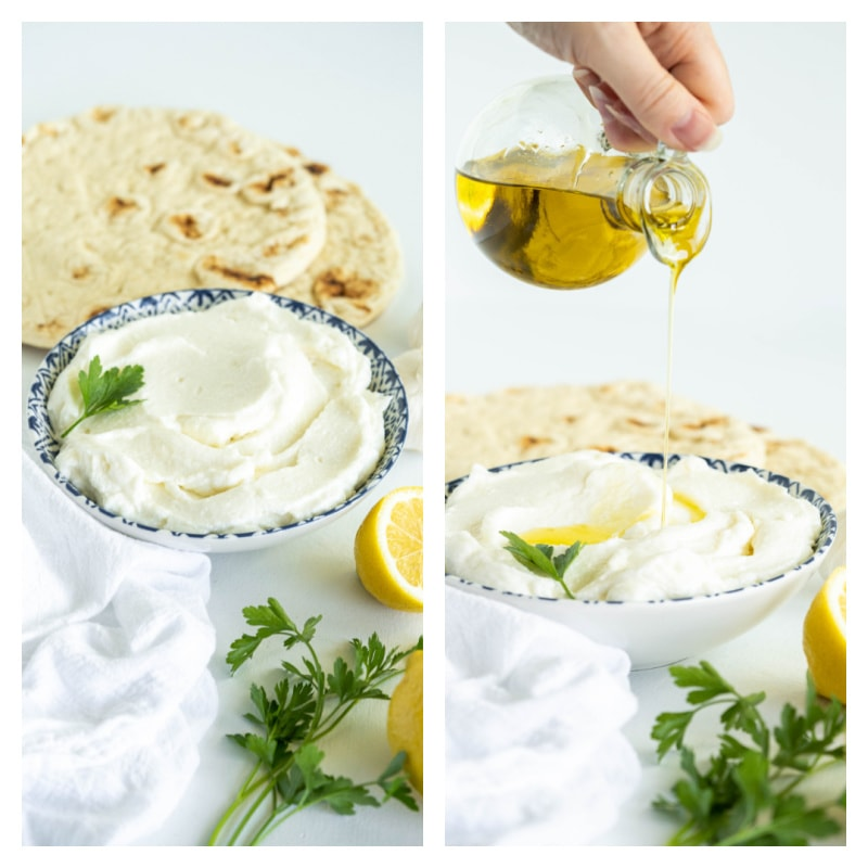 two photos showing garlic sauce in bowl and then olive oil poured into bowl