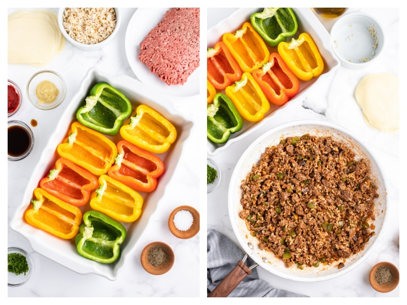 two photos showing hollowed out bell peppers and then cooked beef in a pan