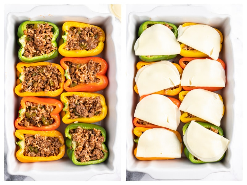 two photos showing stuffed peppers and then cheese on top