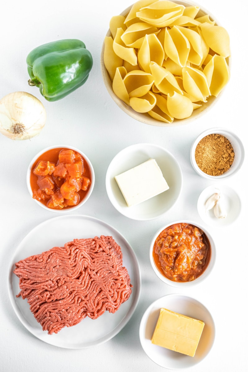 displayed ingredients for making taco stuffed shells