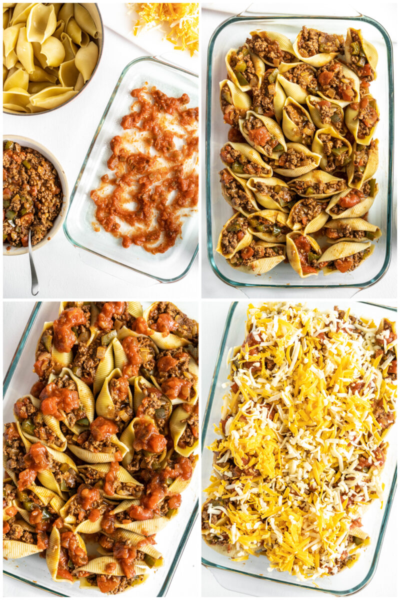 four photos showing how to make stuffed shells