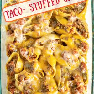 Pinterest image for taco stuffed shells