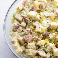 dill pickle potato salad in a bowl