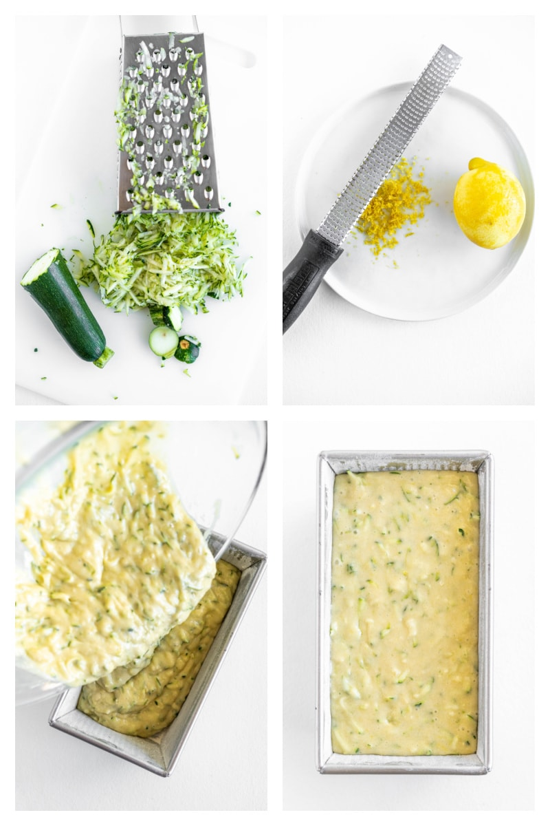 four photos showing process of making lemon zucchini bread batter and putting it into the pan