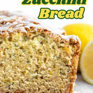 pinterest image for iced lemon zucchini bread