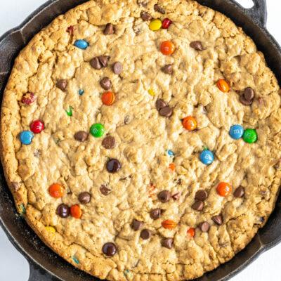 monster skillet cookie in iron skillet