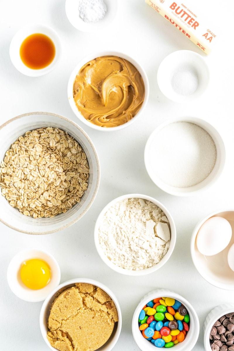 displayed ingredients for the monster pan cookie