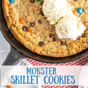 pinterest image for monster pan cookie