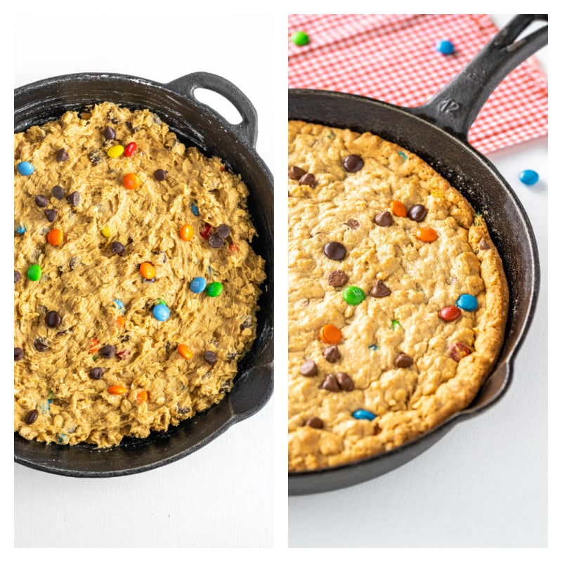 two photos showing a monster cookie dough in a black iron pan then a baked version