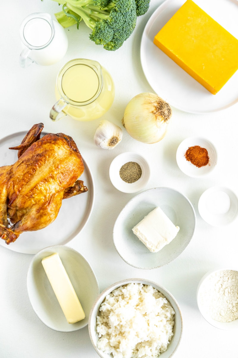 ingredients displayed for chicken and rice casserole