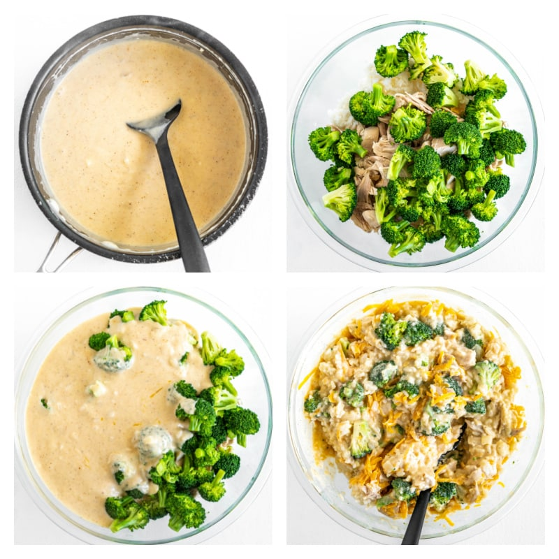 four photos showing process of making chicken and broccoli casserole
