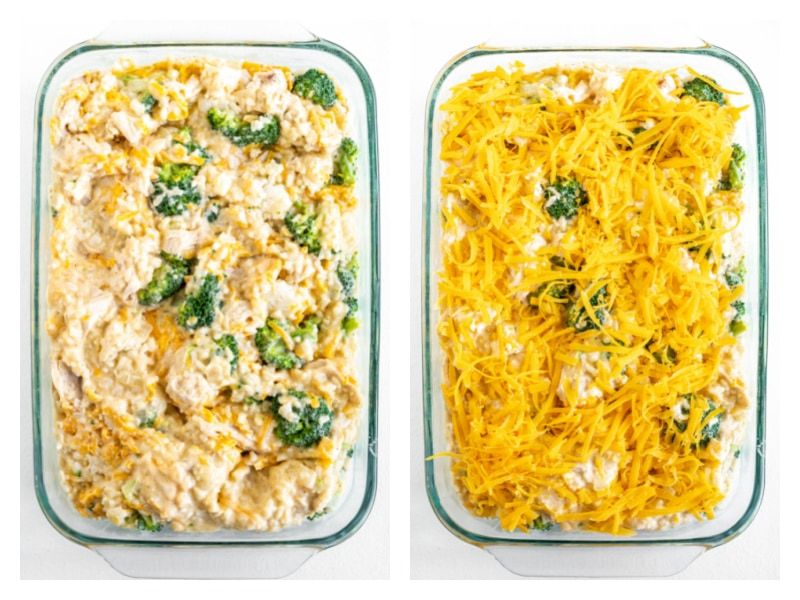 two photos showing process of making cheesy chicken and broccoli rice casserole