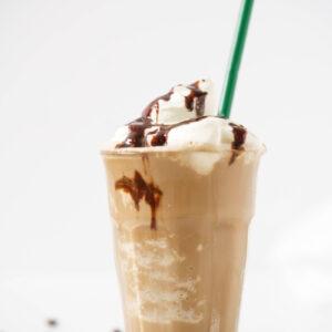 mocha frappuccino starbucks copycat in a glass with straw