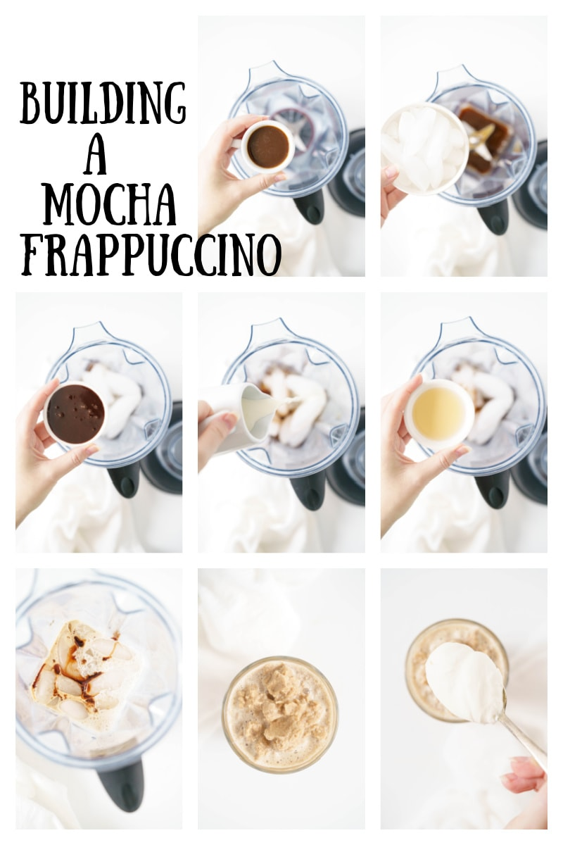 several photos in collage showing how to make a mocha frappuccino starbucks copycat