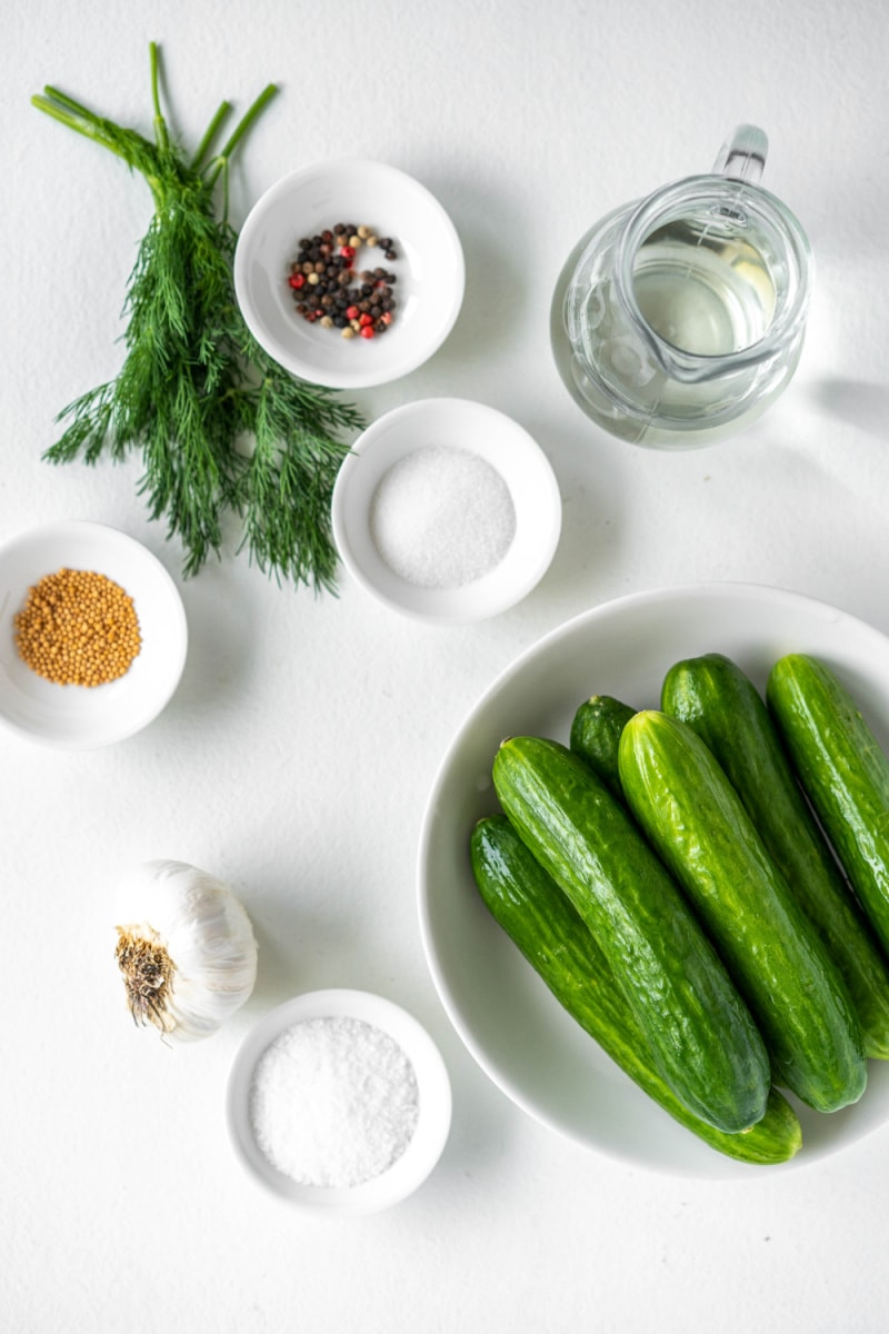 ingredients displayed for making dill pickles