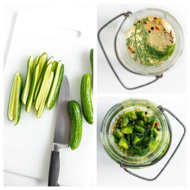 cut cucumbers put in pickling liquid to make pickles