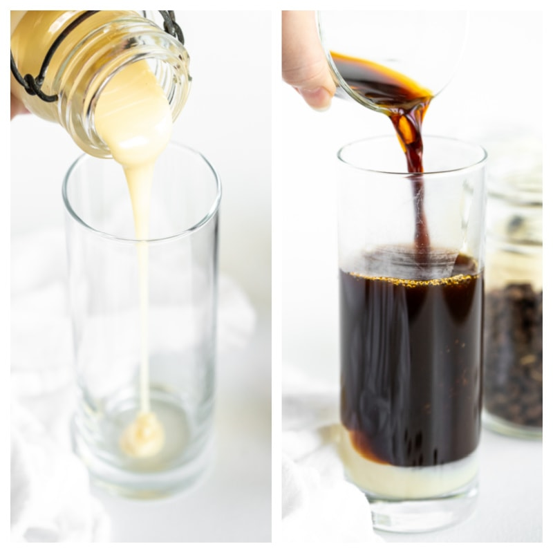two photos showing how to make vietnamese iced coffee pouring sweetened condensed syrup into glass and then coffee