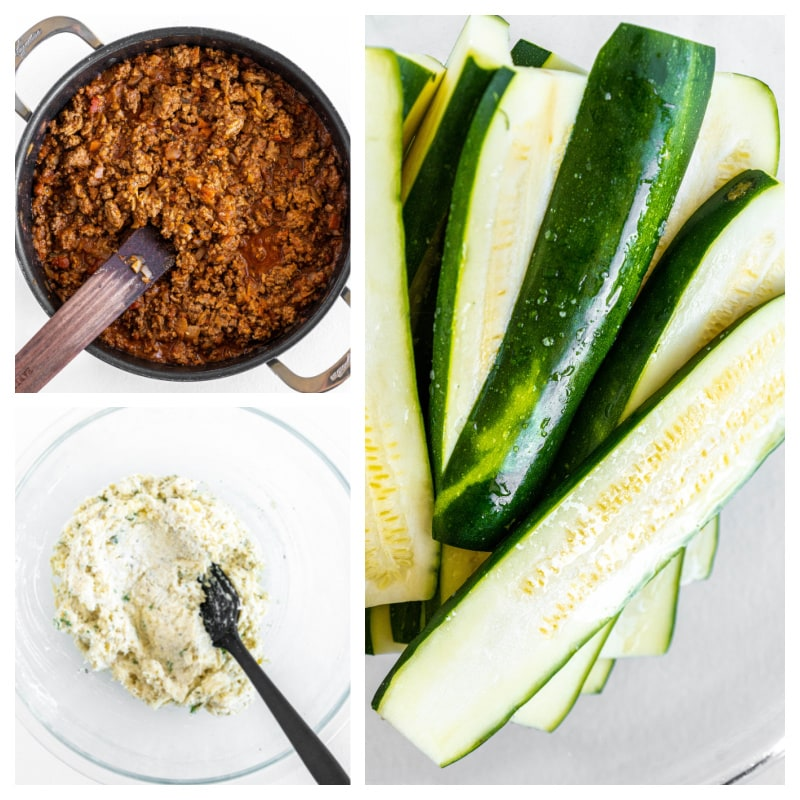 three photos showing meat sauce in a bowl, ricotta cheese mixture in bowl and sliced zucchini