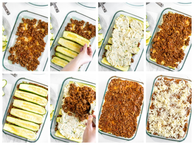 eight photos showing process of making zucchini lasagna
